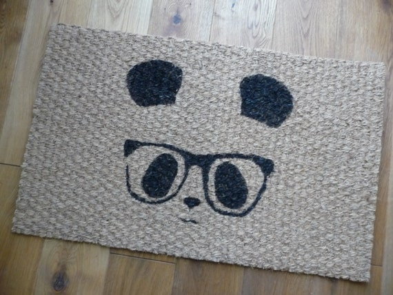 Geek chic panda with glasses door mat - Geeky welcome mats ...