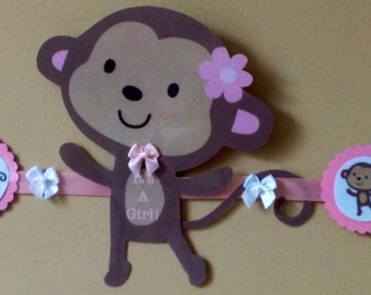 JUNGLE JILL MONKEY baby shower party banner,hand crafted adorable