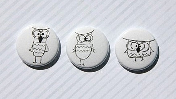 """3 Badges 1"""" Hiboux"""