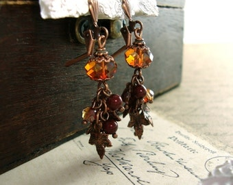 Swarovski Crystal Autumn Earrings - Vintage Style Antique Copper Cluster Earrings - Red Leaf Dangle Earrings - Maple Leaves Autumn Jewelry