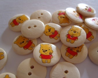 Set of 6 - Lovely Wooden - WINNIE THE POOH Buttons - 2 Hole Style - 18 mm
