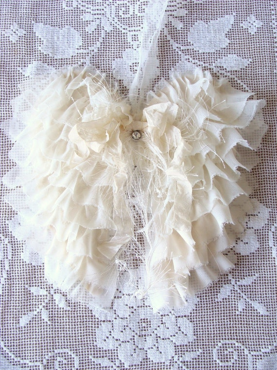 Shabby Fabric Angel Wings French Country Cottage Style Angel Wings Wall Decor