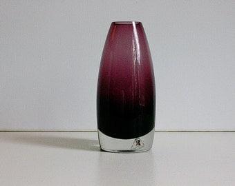 Mid century Riihimaen / Riihimaki Lasi OY Tamara Aladin signed vase Finland