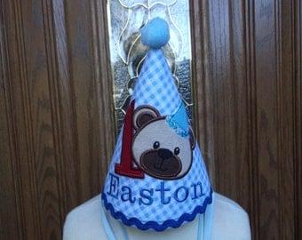 First Birthday Hat - Teddy Bear Birthday Party Hat - Free Personalization -