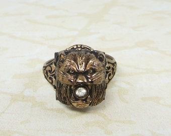 Art Deco Lion Ring