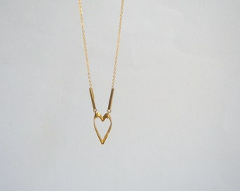 Brass  Necklace, Brass Heart  Necklace