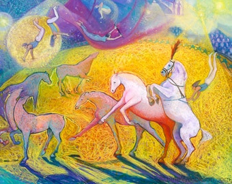Circus Horses and Trapeze Artist | Archival Giclee Art Print