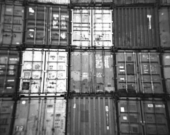 Shipping containers, Holga photograph, Black and White