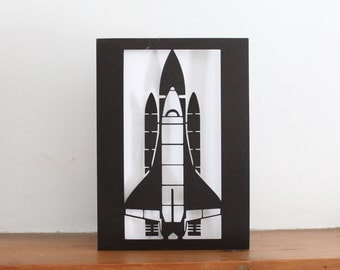 Space Shuttle Papercut Greetings Card