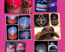 Custom blinged out adjustable licensed NFL, NBA hats