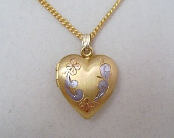 "Vintage Heart Locket Gold Filled with Etched Floral Design  with 20""  GF Chain"