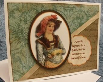 Fashion Note Card; Victorian; 19th Century