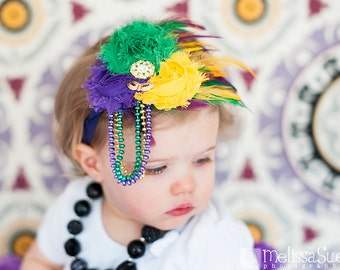 Colorful Mardi Gras Couture Feather Headband in Purple, Gold and Green, Baby Headband, Toddler Headband, Adult Heaband, Photo Prop