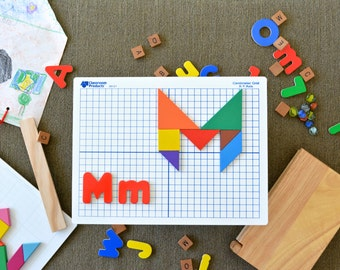 Personalized Tangram Block Wall Picture - Colorful Shape and Letter Art Letter M Childs Name or other Word Math Mom Makayla Michael Mia More