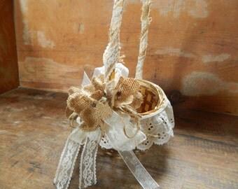 Flowergirl Basket Burlap Lace