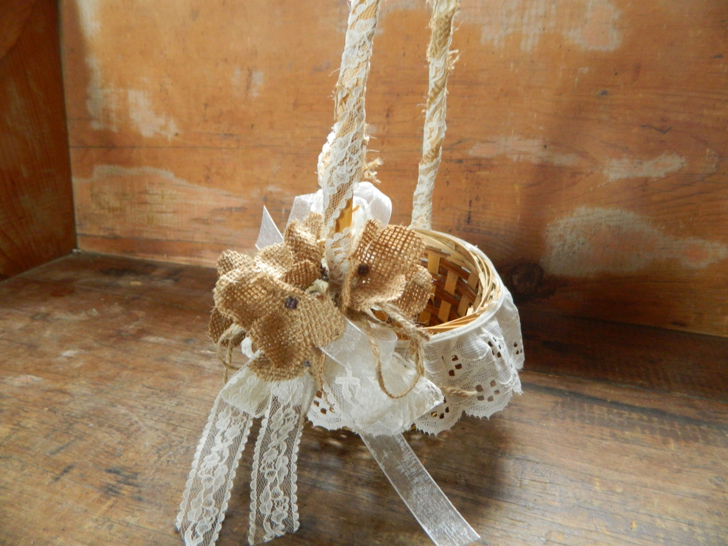 Flower Girl Baskets Burlap : Flowergirl basket burlap lace