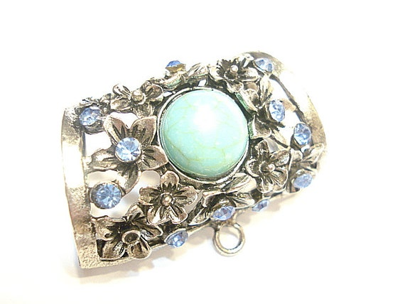 metal turquoise scarf slides for pendant by