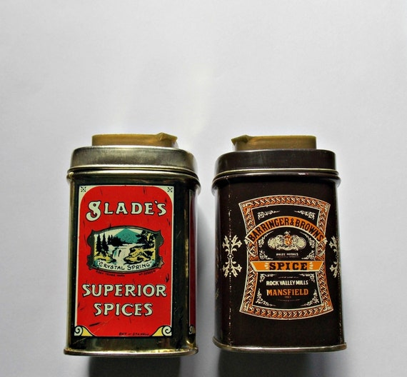 two vintage metal spice tins by ghostsofthepast on etsy