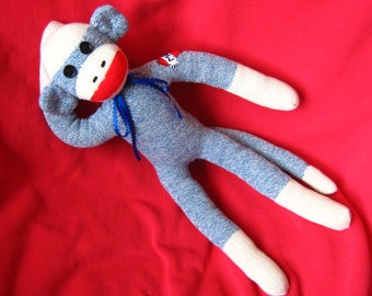 "Sock Monkey - Heart Mom Tattoo - 20"" Blue - Stuffed Animal Toy Plush Doll Rockford Red Heel Socks"