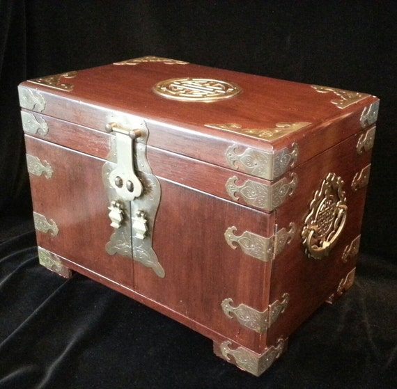 Huge Antique Chinese Brass Wooden Large Jewelry Box Mah Jong