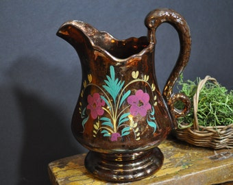 Vintage Lusterware Pitcher, Antique lusterware pottery, copper Lusterware pitcher, Made in England, Great Gift Idea, #237