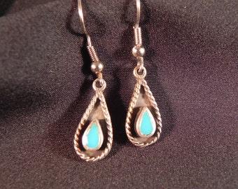 Vintage Earrings Native American Tear Drop Turquoise  Fishhook Earrings