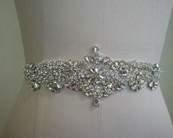 SALE - Wedding Belt, Bridal Belt, Sash Belt, Crystal Rhinestone Sash - Style B70018