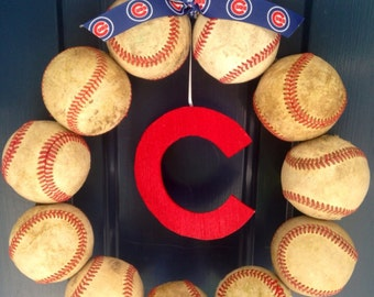 Chicago Cubs Baseball Wreath