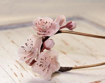 cherry blossom stick,sakura stick, handmade cherry blossom, polymer clay