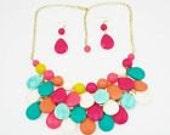 Multi color Teardrop Bib necklace
