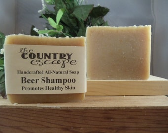 Beer Shampoo Bar - Cleans and Lathers Great- Handmade - Gentle & Moisturizing-All Natural Paraben Free - Vegan - Organic - Handcrafted