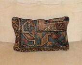 Handmade Antique Persian Hamadan Rug Pillow, Throw Pillow, Accent Pillow, Toss Pillow