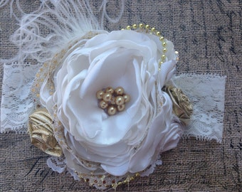 White and gold  over the top headband, couture headband, gold headband, baby headband, cream and gold headband, ott bow, white headband