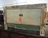 RESERVE-A.D.-Chinese Storage Cabinet, Console or Media Piece in Distressed Green  (Los Angeles)