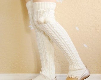 Very warm white Lacy Leg Warmers.Cute  gift for her ,Charcal and white long leg warmers,boot socks with white lace ,boot long cuffs