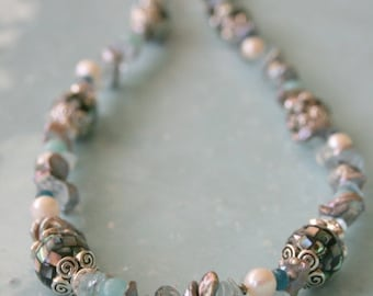 Keishi Pearl gemstone combined Necklace sale