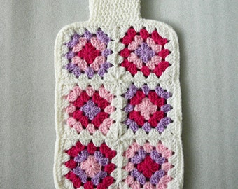 Crochet Hot Water Bottle Cozy, granny squares in pink, purple and white