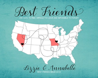 BFF, Gift for Best Friend, Moving Away Gift,  Print - Long Distance Friendship Gift, Going Away Personalized Map of US, Best friends Art