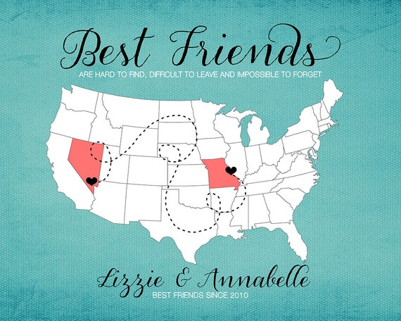 BFF Gift for Best Friend Moving Away Gift Print Long  Quotes About Moving Away From Your Best Friend
