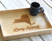 Custom Personalized Wooden Serving Tray - Engraved City & State, or Country Design
