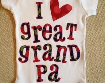 100 percent cotton I love great grand pa appliquéd baby onesie