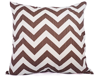Two Brown and White Decorative Pillow Covers - Brown Chevron Throw Pillow Covers - Decorative Pillow Cushion Cover