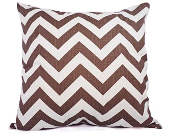CLEARANCE One Brown and White Decorative Pillow Cover - Brown Chevron Throw Pillow Covers - Decorative Pillow Cushion Cover