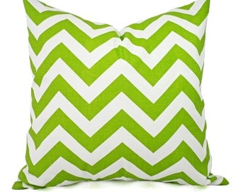 Green Couch Pillows - Green Pillow Cover - Green and White Chevron Pillows - Green Decorative Throw Pillow - Accent Pillow