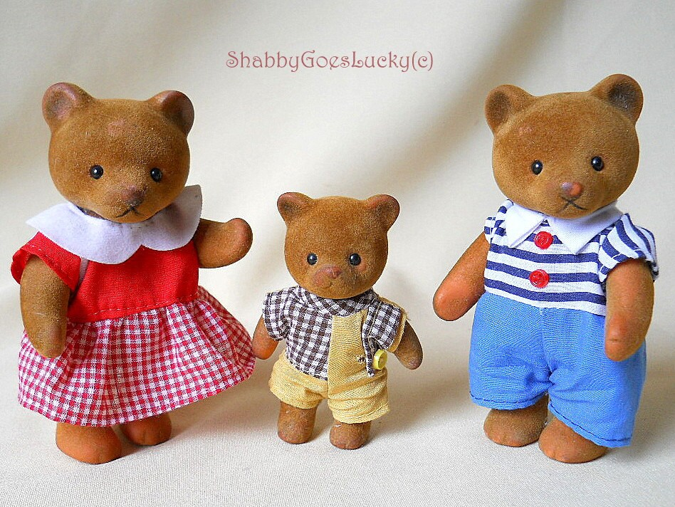 Vintage Sylvanian families tan bears calico by ShabbyGoesLucky