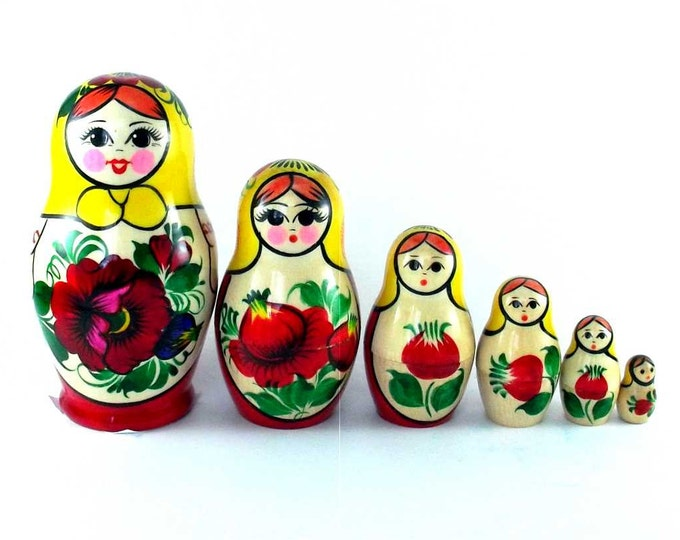 Nesting Dolls 6 pcs Russian matryoshka Babushka doll for kids set Wooden stacking authentic genuine toys Birthday gift for mom Rossiyanka