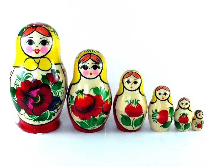 Nesting Dolls 6 pcs Russian matryoshka Babushka doll for kids set Wooden stacking authentic genuine toys Birthday gift for mom Rossiyanka