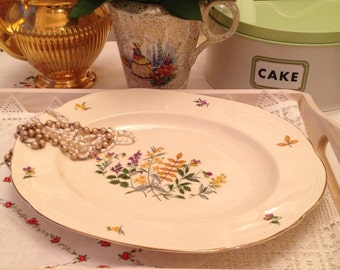 Alfred Meakin vintage floral pattern meat platter made from bone china 1940's