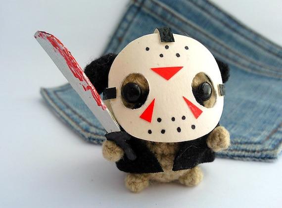 Amigurumi  friday the 13th Pug Dog, Jason crochet Pug. Friday the 13th Pug. Halloween pug costume.