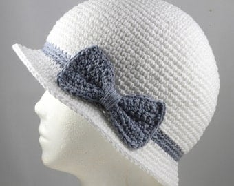 Cloche Hat in White with Faded Denim Blue Band and Bow for Cancer Patients